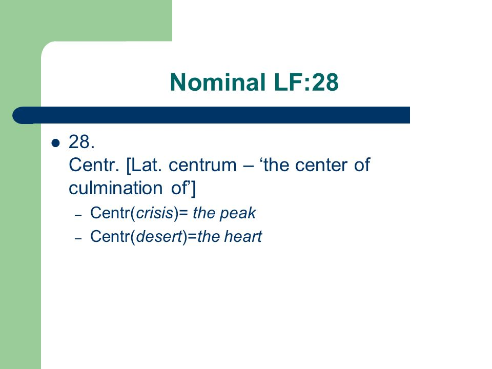 Nominal LF:28 28. Centr. [Lat. centrum – 'the center of culmination of'] Centr(crisis)= the peak.